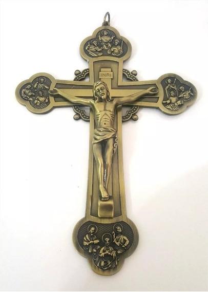 Crucifixo Cruz Com Os Apóstolos Bizantino 22cm Ouro Velho