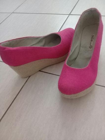Zapatos Stiletos Rafia Fuxcia Tacho Chino En Yute 38/39