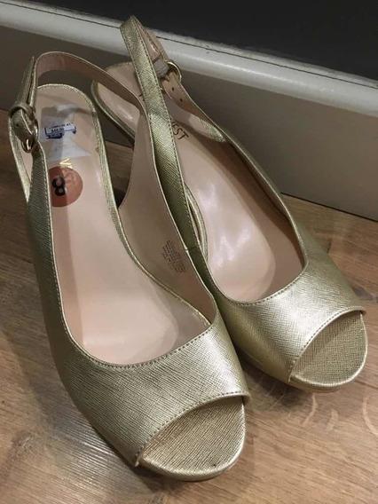 Zapato De Fiesta Dorado Marca Nine West Como Nuevo 39