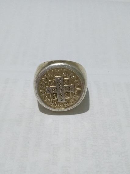 Dedante De Prata Medalha De São Bento 925 Banhado A Ouro