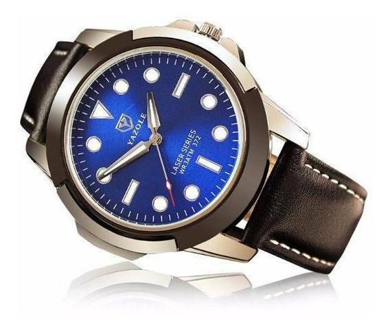 Relógio Masculino Esportivo Yazole 372 Preto Azulado