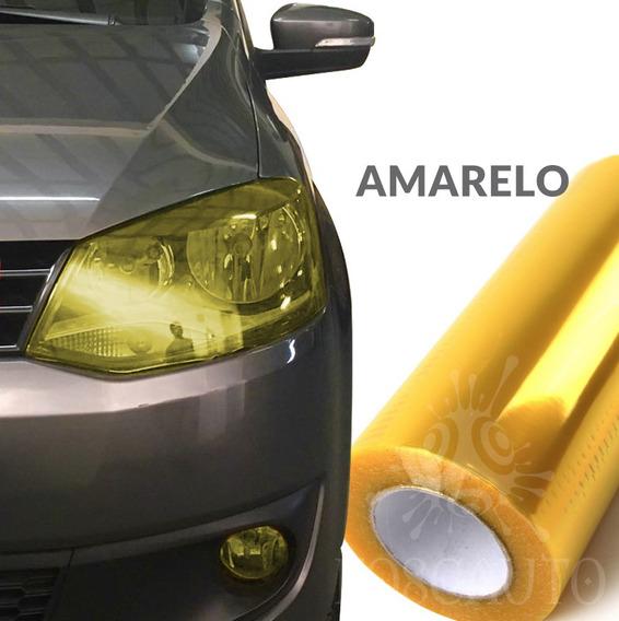 Adesivo Farol Milha Moto Carro Amarelo Euro Look - 1m X 30cm