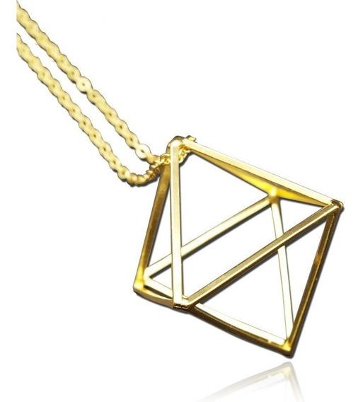 Collar Rombo 3d Baño Dorado De Metal Forma Geometrica Cadena