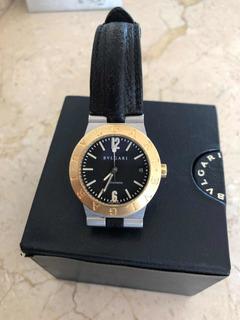 Relógio Bvulgari,aço E Ouro,pulseira Couro.38mm Com Cx.