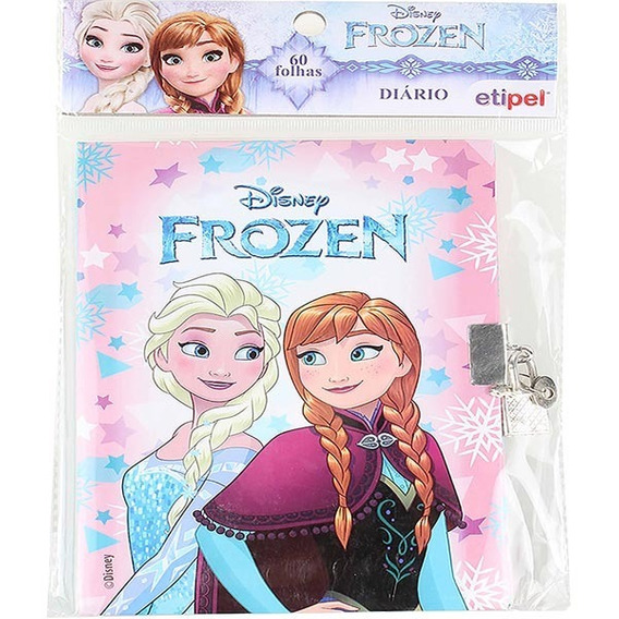 Kit 5 Diário Infantil Com Cadeado Frozen Dyp-123 Elsa Anna