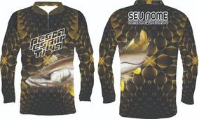 Kit 2 Camisa De Pesca Esportiva Personalizada Uv50 Robalo