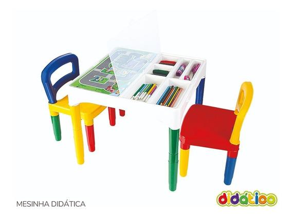 Mesa Mesinha Didática Infantil Poliplac Com 2 Cadeiras