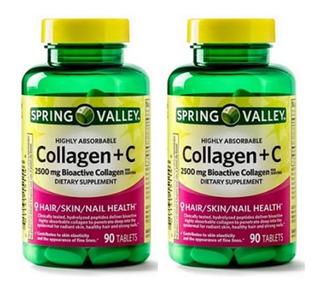 2 Frascos De Collagen 2,500 Mg + C 180 Tabletes