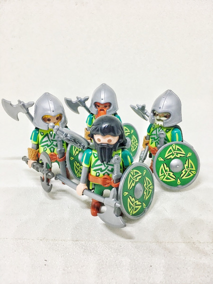 Playmobil Lote Kit 4 Boneco Soldado Guerreiro Medieval Anões