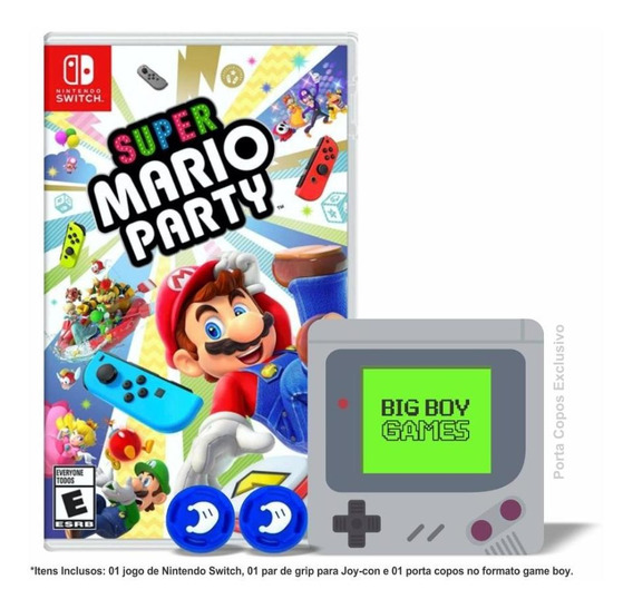 Super Mario Party + Caps Grip Joy-con & Porta Copos Switch