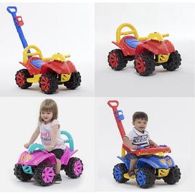 Quadriciclo Infantil Carrinho De Passeio Com Puxador Rosa