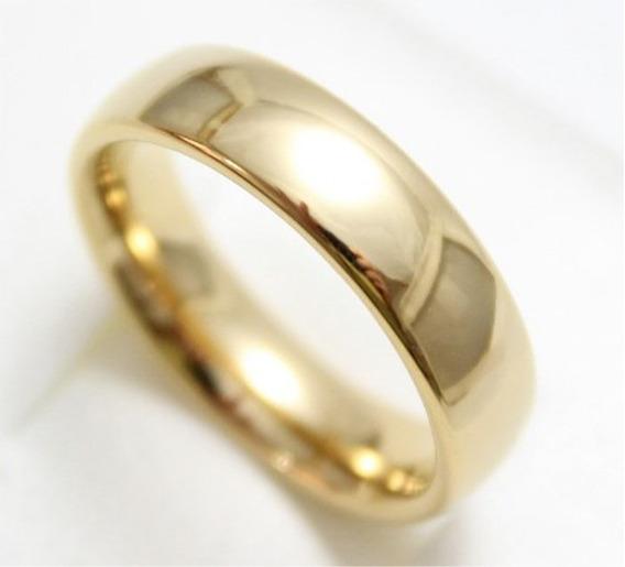 Aliança Tungstênio 6mm Folheada Banhada Ouro