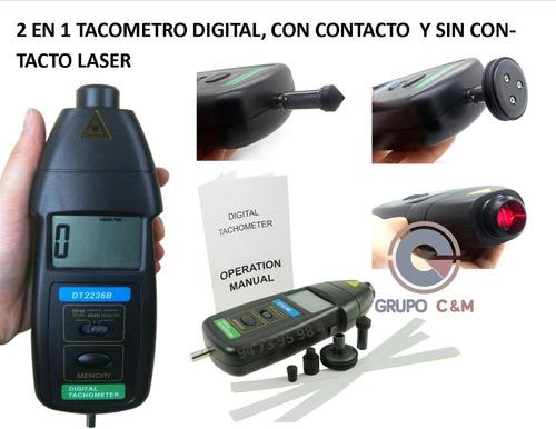 2 En 1 Tacometro Digital, Con Contacto  Y Sin Contacto Laser
