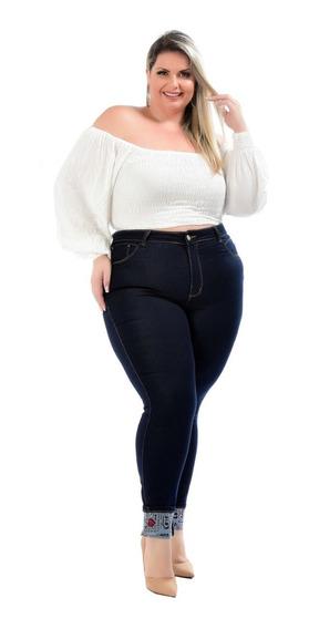 Calca Jeans Plus Size Feminina Cintura Alta Com Lycra Strech