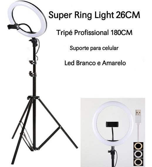 Ring Light De Fotografia Iluminação 26cm 120 Led + Tripe