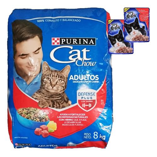 Comida Gato Adulto Cat Chow Carne 8 Kg + Regalo + Envío