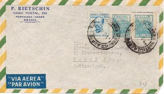 Envelope Anos 1960 P. Rietschin, Fortaleza Ceará Para Suiça