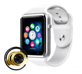 Relógio Celular Inteligente Branco + Fone Sem Fio Bluetooth