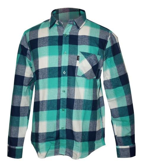 Camisa De Franela Para Hombre Con Bolsillo Frontal Motor Oil