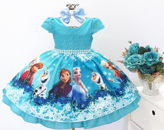 Vestido Frozen Elsa Ana Aniversario Infantil Festa Promoção