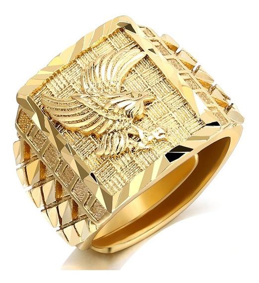 Anel Ajustável Dourado Grande Banhado A Ouro Trabalhado