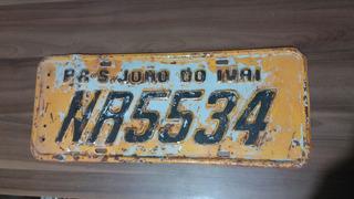 Placa Amarela Carro Antigo São João Do Ivai - Pr
