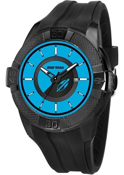 Relógio Mormaii Masculino Preto Com Azul Mo2315ap/8z
