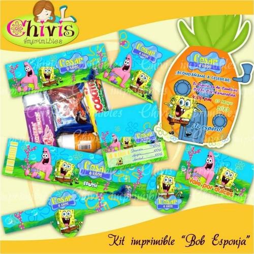Kit Imprimible Bob Esponja, Cumpleaños, Decoración