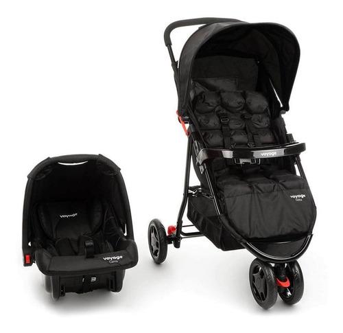 Carrinho Com Bebê Conforto Delta Voyage Travel System Preto