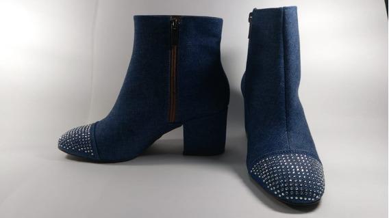 Bota Feminina Valentina Salto Azul Jeans Cano Curto