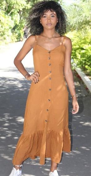 Vestido Longo Botão Alça Feminino Moda Verão 2020 Blogueira