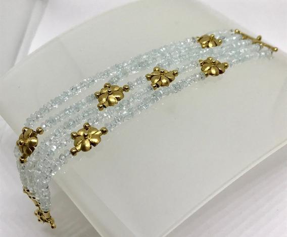 Glitter Joias - Pulseira Flor Ouro E Cristal De Quartzo 22gr