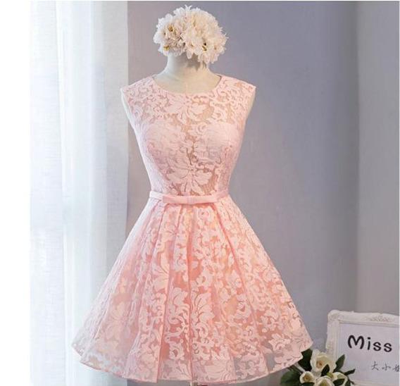 Vestido Curto Rose Pêssego 15 Anos Debutante Balada Rendado