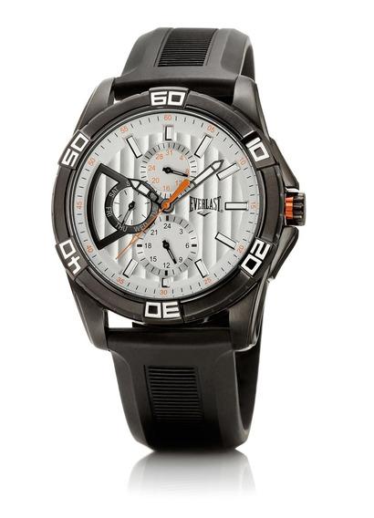 Relógio Pulso Everlast Masculino Aço Silicone Preto E246