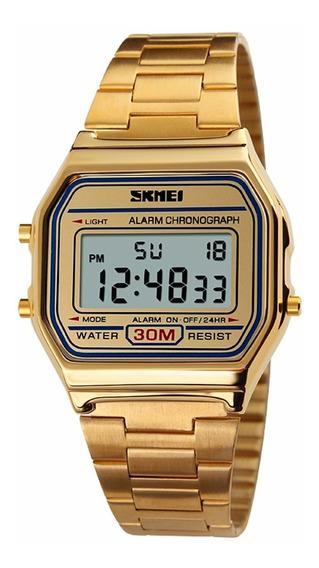 Relógio De Pulso Skmei Square Discagem Digital Ouro
