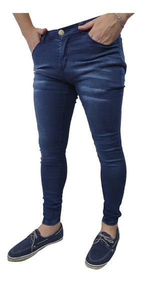 Jean Hombre Elastizado Chupin Azul Localizado Slim Pantalón