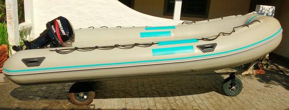Bote Inflável De Fibra 4.5 Metros Com Motor Mercury 25 Hp