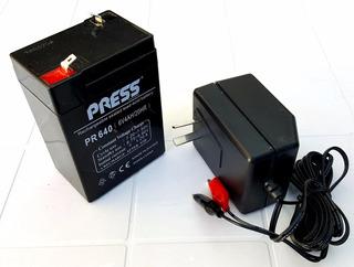 Bateria Gel 6v 4ah + Cargador Ideal Luz Equipo Auto Niño