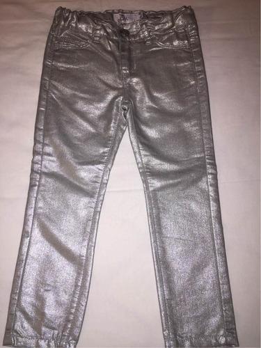 Pantalon Importado Para Nina Elastizado Plateado T4 Mercado Libre
