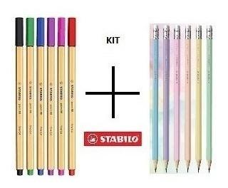 Kit Stabilo - 6 Lápis Pastéis Stabilo + 6 Canetas Stabilo