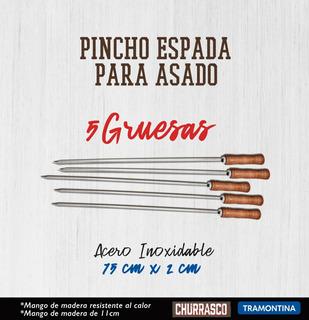 5 Espadas Pincho Brasileñas Gruesas Para Asado De 75cm Tramontina