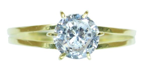 Anel Solitário Ouro 18k Pedra Zircônia Debutante Noivado S5