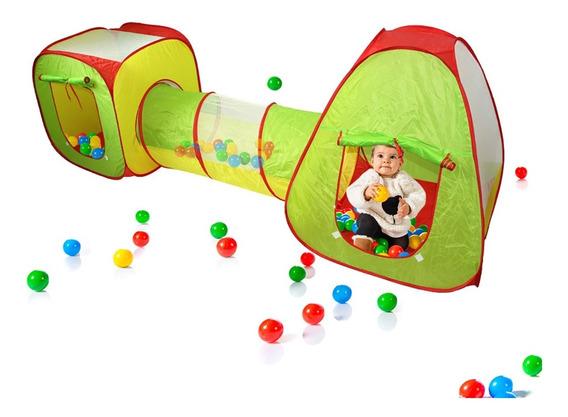 Barraca Infantil Toca 3 Em 1 Com Tunel 50 Bolinhas Coloridas