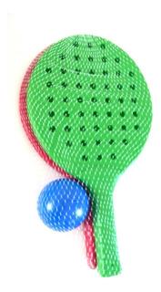 Juego Paletas Plastico Tipo Paddle Con Pelota Y Bolsa De Red