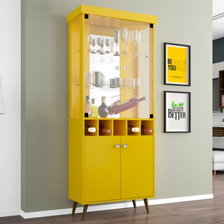 Cristaleira 4 Portas Monza Ii Amarelo - Móveis Bechara