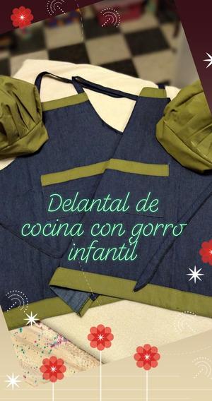 Delantal De Cocina Jean C/gorro Infantil - Mini Chef