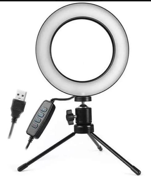 Ring Light Luz Led Selfie Fotos Usb Tripé Mesa Maquiagem