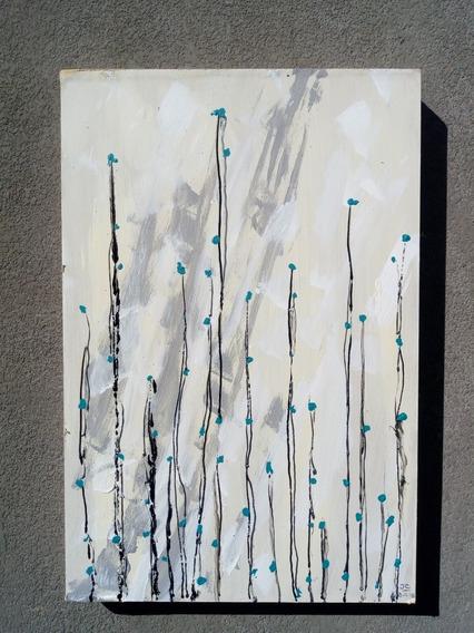 Pintura Técnica Mixta Sobre Madera Las Flores Del Cielo