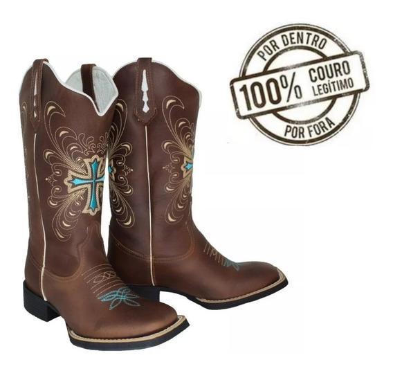 Bota Texana Feminina Cruz Bordada-rodeio-coutry-couro