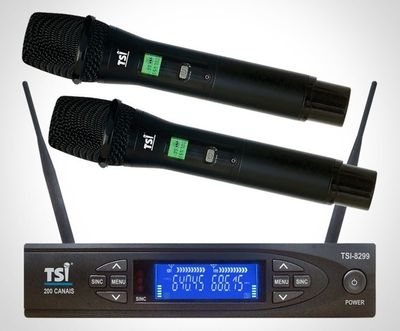 Microfone S/ Fio Duplo Digital Tsi 8299 Uhf